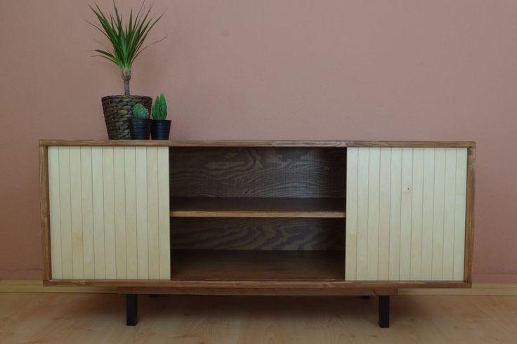 TV Tisch Sideboard HiFi Mid Century Unikat Massivholz Vintage Retro Schiebetür