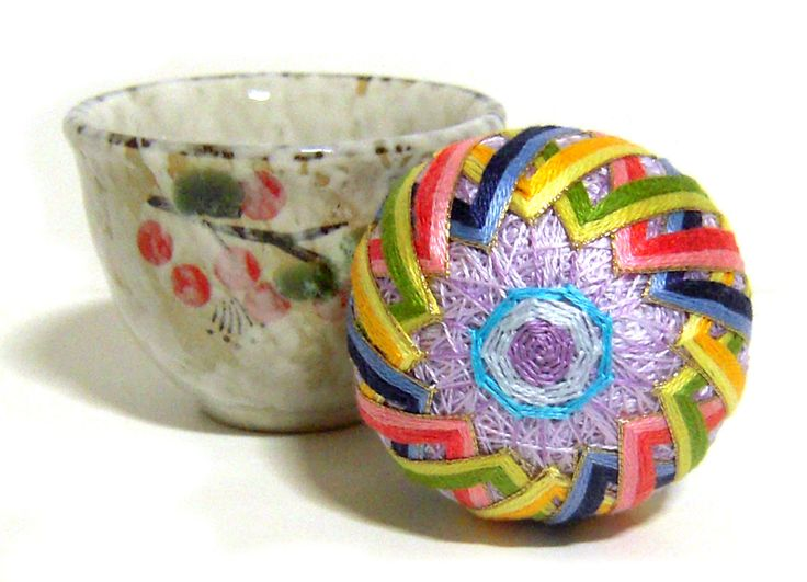 Lavender color tea cup pincushion by Korean traditional little ball embroidery