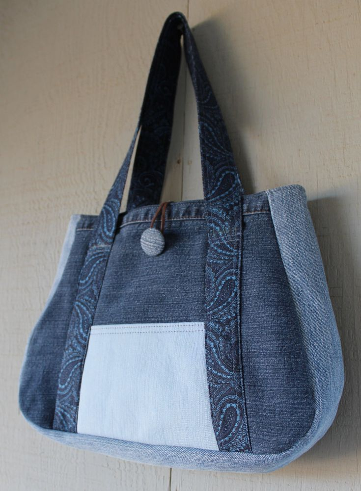 Denim Handbag with Front Pocket and Fabric Button and Lined with Soft Cotton Blue Paisley Printed Fabric by AllintheJeans on Etsy