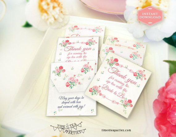 Pink Floral Floral Tea Bag Covers  Bridal by Time4TeaParties
