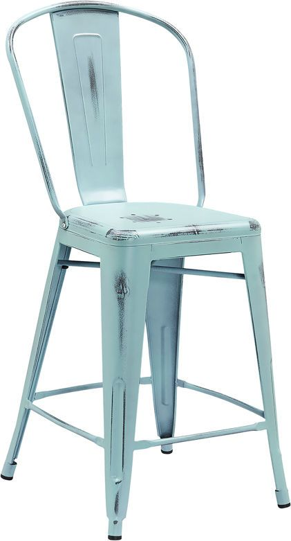 Distressed Metal Stool Farmhouse Coastal indoor/outdoor Industrial 6 COLORS