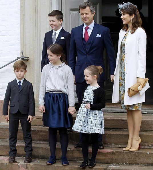 2 April 2017 - The Danish Royal Family attend the confirmation of Prince Felix - dress by Ole Yde
