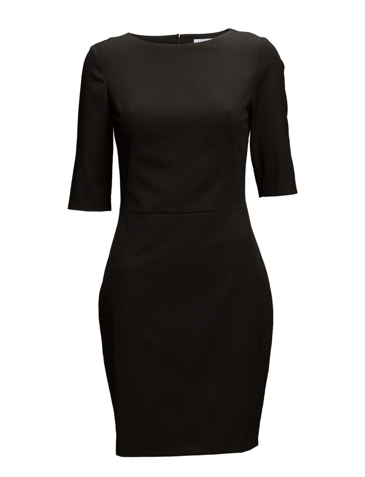 DAY - 2ND Tight Slight stretch Boat neckline Elbow length sleeves Fitted silhouette Classic Elegant Sophisticated Made from a high quality wool blend. Black Dress