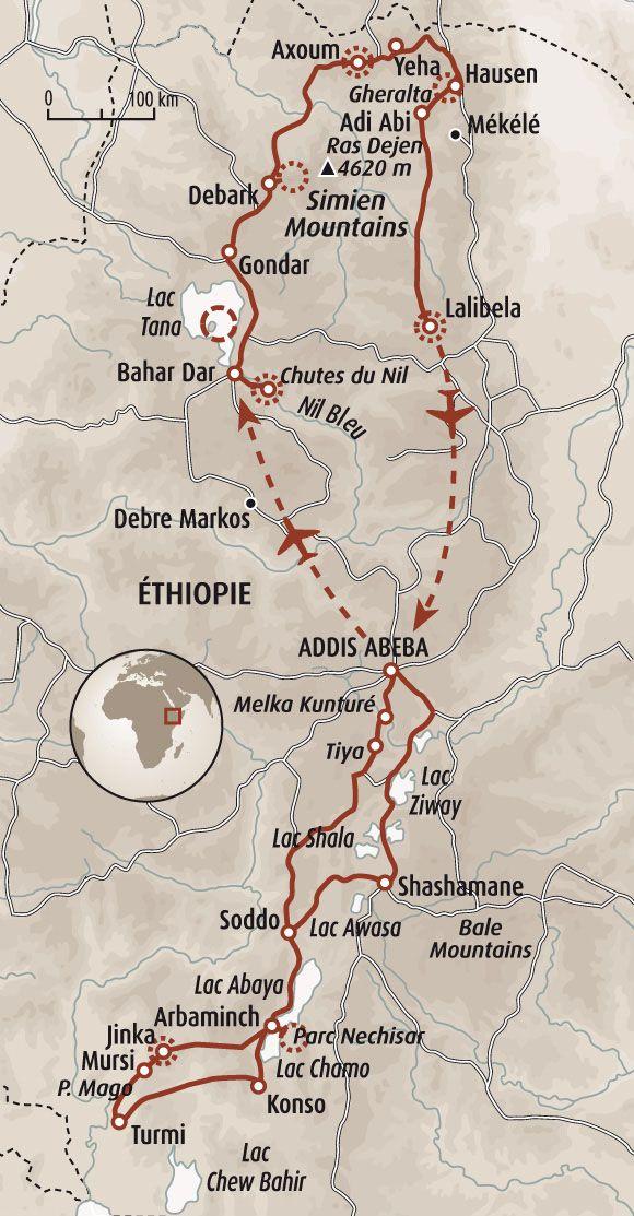 L'Ethiopie du Nord au Sud : chutes du Nil Bleu, lac Tana et châteaux de la cité impériale de Gondar, Axoum et ruines de la ville ancienne, paysages du massif du Gheralta, 2 jours de découverte de la Jérusalem noire, Lalibela et ses environs,  peuples de la vallée de l'Omo : Borena, Konso, Hamer, Mursi, etc.,  faune des lacs de la vallée du Rift : Awasa, Chamo...