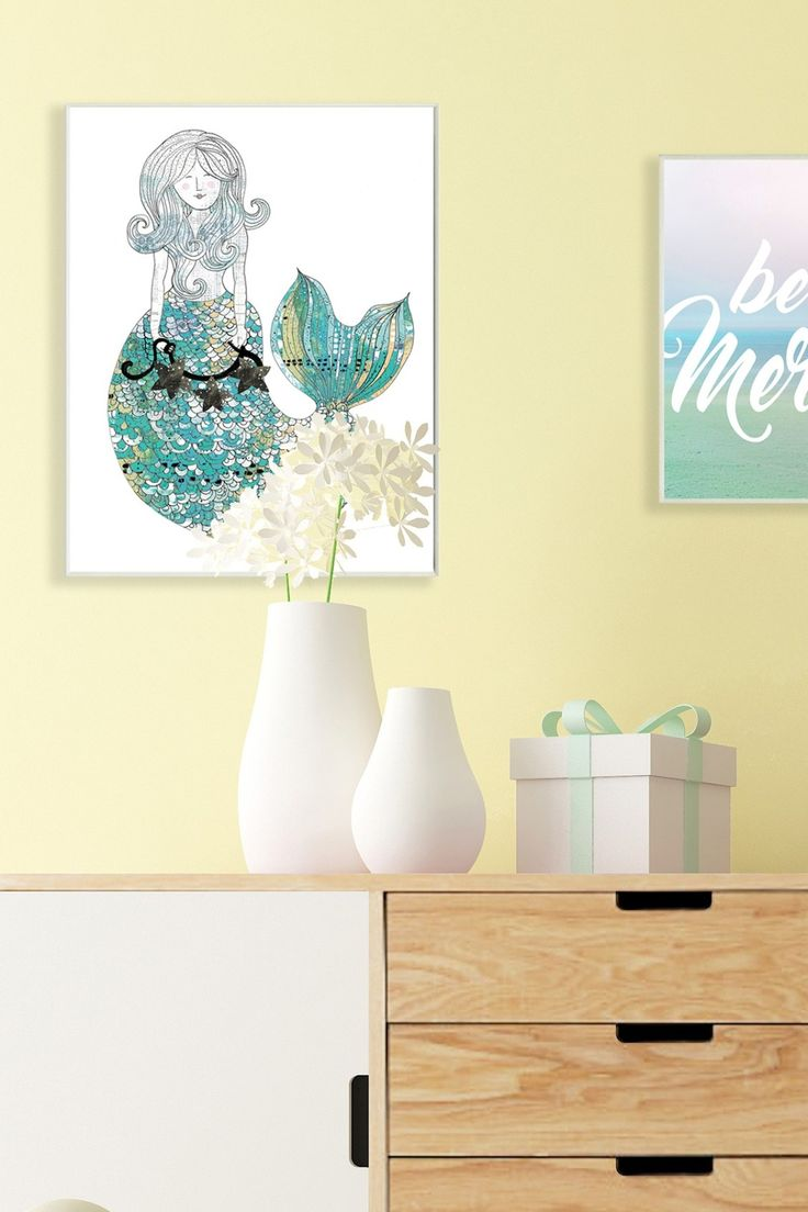 Modern Wooden Mermaid Wall Decor Illustration - Wall Art Collections ...