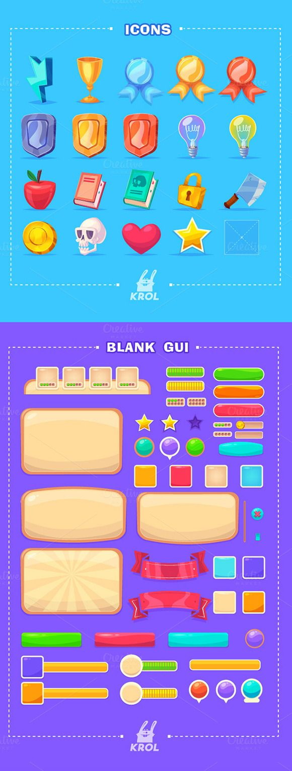 Cartoon GUI pack #1 by Krol on @creativemarket