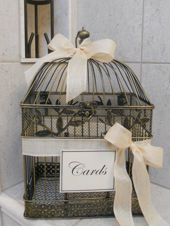 Black/Gold Birdcage/Wedding/Card Holder Ivory by TheLaceMoon