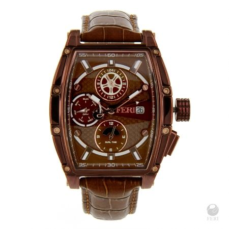 FERI - Astraus Watch - Dark Brown with Printed Strap - Dark Brown rectangular design dial - Swiss made movement - Special brown toned metal rectangular case - 3 piece Solid Stainless Steel Case - 10 ATM of water resistance - Date Function and 3 movements - Genuine leather band with metal clasp - Sapphire crystal glass face - 3 year limited manufacturer warranty - Hypoallergenic   Face: 49mm x 57mm (Including case and crown) Band width: 21mm Clasp: 26mm x 18mm