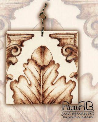 Pirografia su legno / Anna Bernasconi Art / ACANTO ED ALTRE ANTICHE ESSENZE / ispirazione storica - artistica - floreale
