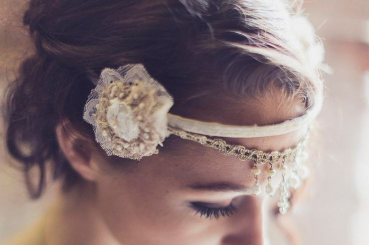 Embroidered lace head dress with seed pearls by https://www.facebook.com/pages/Beloved-Vintage-Bridal-by-Jacq-Brill/119683038049034