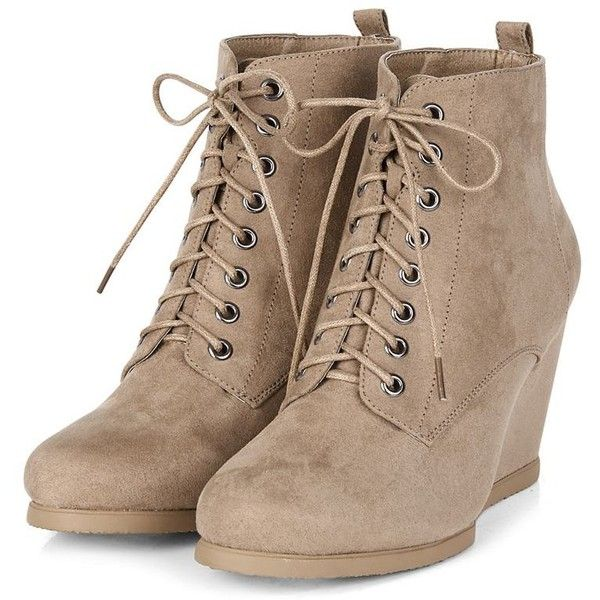 Light Brown Lace Up Wedge Boots (£25) ❤ liked on Polyvore featuring shoes, boots, ankle booties, wedges, ankle boots, heels, lace up wedge bootie, short boots, lace up heel boots and lace-up wedge booties