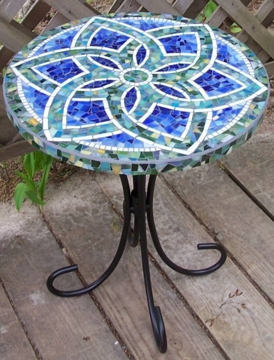 flure de lis bottle cap table.