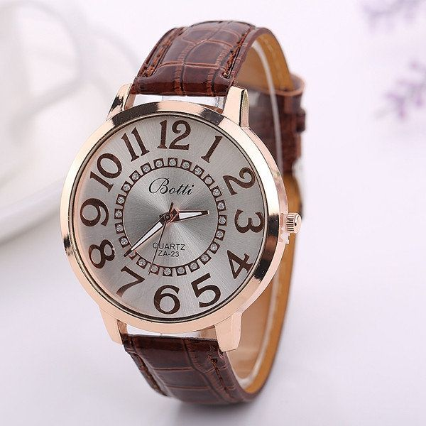 Fashion Big Number Rhinestones Dial Ladies Casual Leather Watch Women Dress Wristwatch Gift online - NewChic