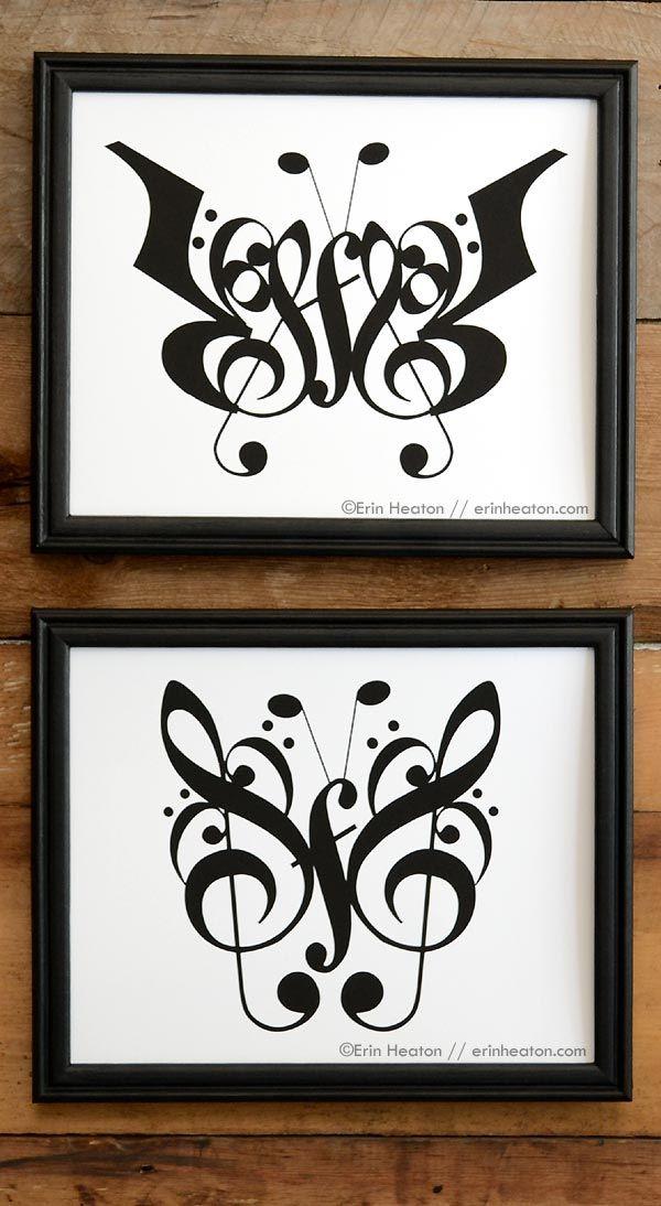 Butterfly Music Note Art Print Set