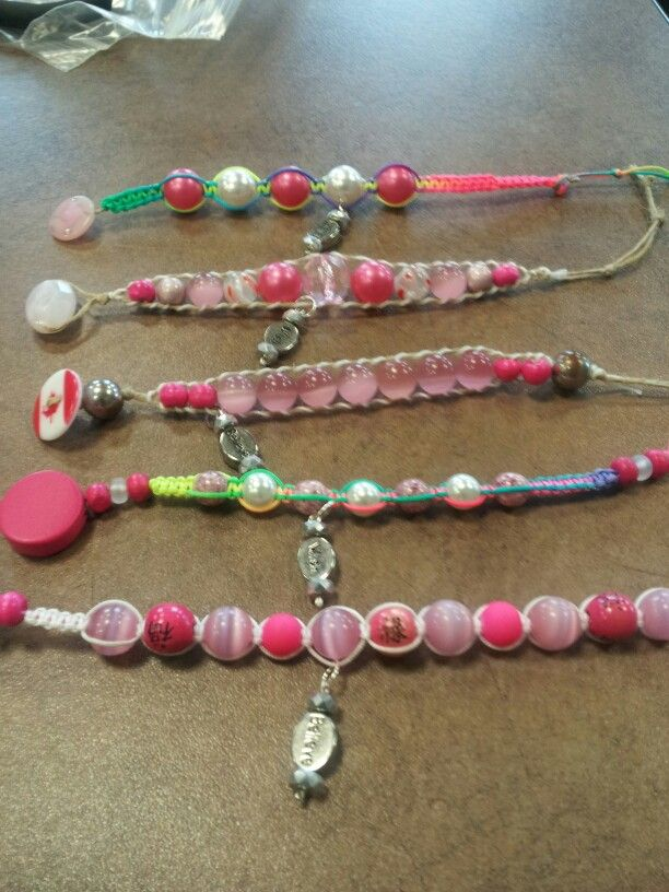 Breast cancer bracelets I made for 5 wonderful woman at 2013 Relay for Life