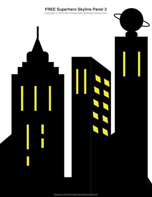 Free Superhero Printables - #Superhero building skyline, 4 different building patterns. Más
