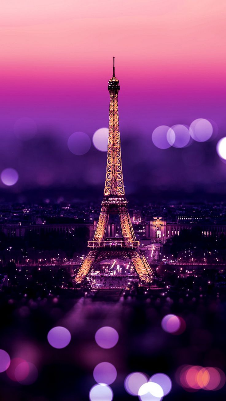 Wallpaper iphone violet - Tour Eiffel Paris Bokeh Purple Warmth