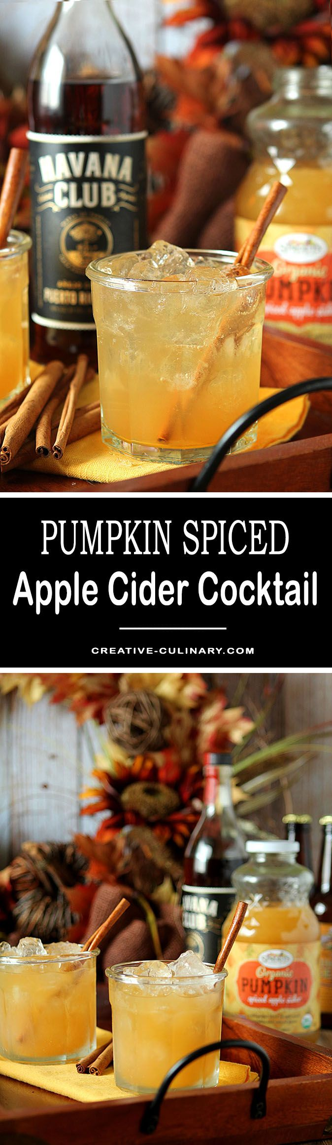 A nice change for a fall cocktail with rum in lieu of bourbon. This Pumpkin Spiced Apple Cider Cocktail is touched with cinnamon and lemon too! via @creativculinary