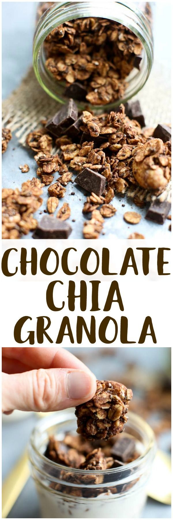 Healthy granola recipe! This Chocolate Chia Granola is filled with nutrients and omega 3s from the chia seeds. Great healthy breakfast or snack idea! Vegan and gluten-free recipe.