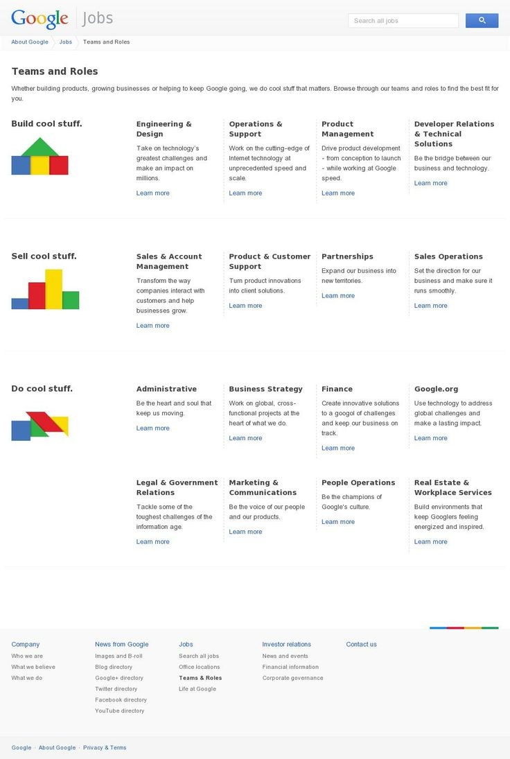 images about industry websites admin jobs the google teams and roles page also has a very simple layout teams and roles