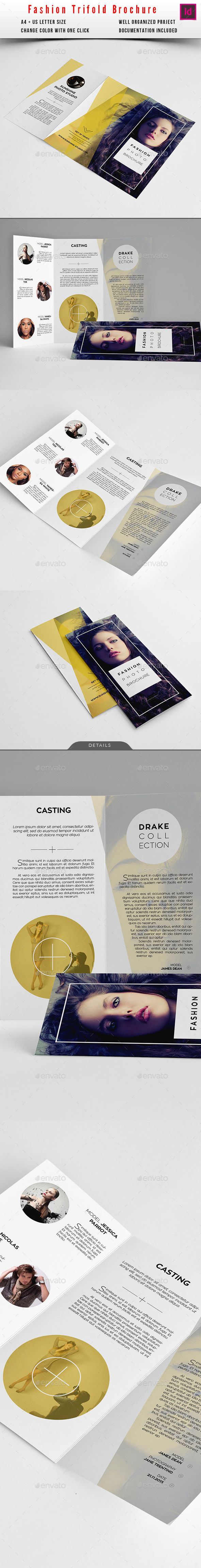 Fashion Trifold Brochure — InDesign Template #swiss #look • Download ➝ https://graphicriver.net/item/fashion-trifold-brochure/13373318?ref=pxcr