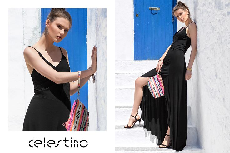 Wear your favorite long dress and your hottest look. #Celestino #ootd #longdress #blackdress #style #fashion #hotgirl #beautiful