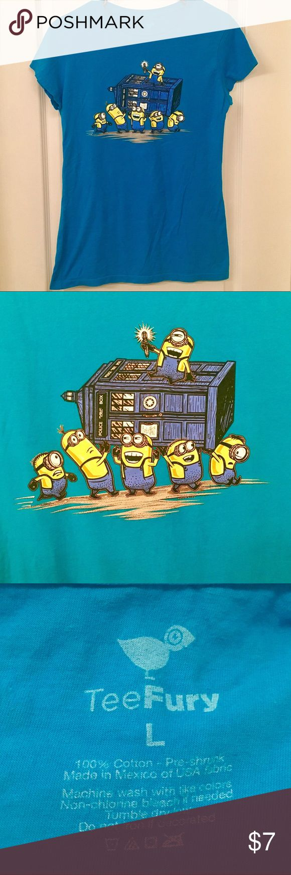 🦋Adorable Minion Police Box T-Shirt🦋 Adorable Blue Minion Police Box T-shirt !!! Women's size large !! Disney Tops Tees - Short Sleeve