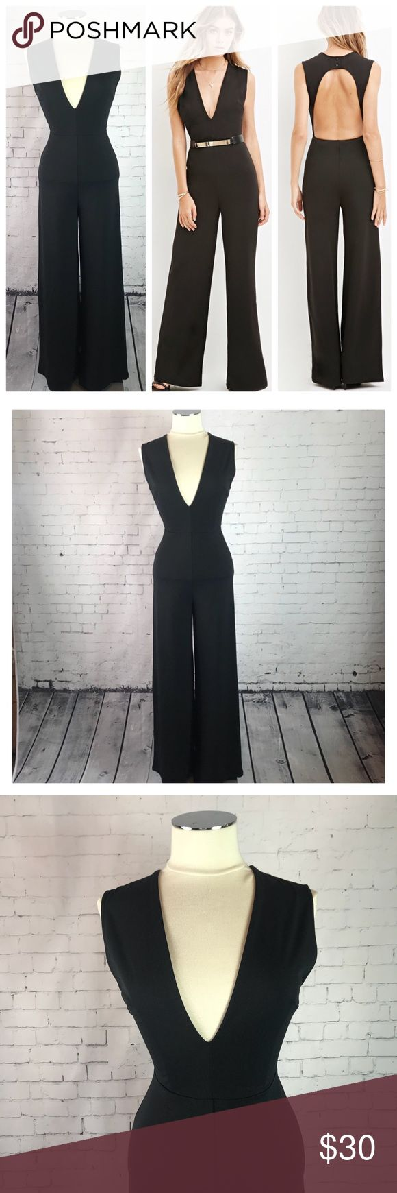 "Date Night Black Jumpsuit  Size: Small Date Night Black Jumpsuit Size: Small Fun black jumpsuit with sleeveless bodice, with deep V-neck, darting, open back with a top button closure a bit of elastic at the back waist and a flare leg.   The Inseam is 29. So it is perfect for someone petite. Best for someone 5""3 and under pair with a small heel. This is Pre-owned worm once and in (EUC) Forever 21 Other"