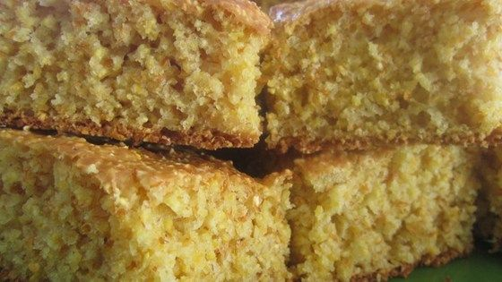 This cornbread recipe contains no oil and tastes very, very good. Serve warm with honey, butter or margarine.