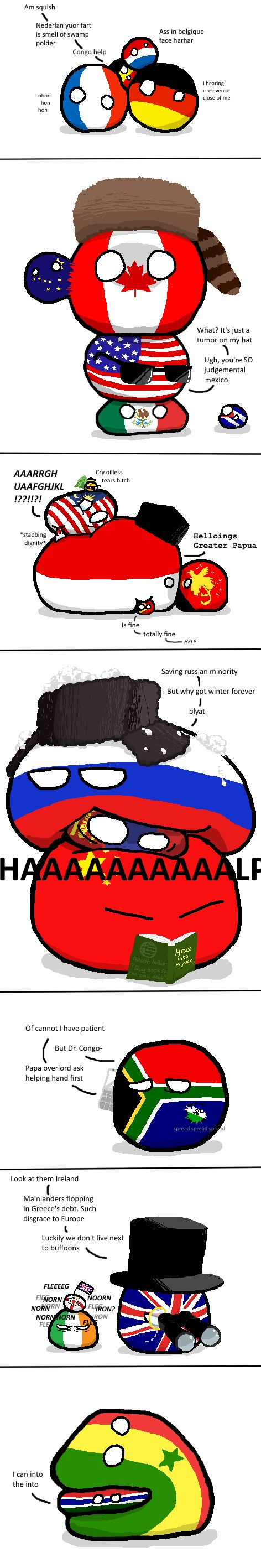 Some Mildly Interesting Geography That You Guys Won't Probably Care (France, Germany, Belgium, Netherlands, Canada, USA, Mexico, Malaysia, Singapore, Indonesia, Timor Leste, Papua New Guinea, Russia, Mongolia, China, South Africa, Lesotho, UK, Ireland, Senegal, Gambia) by kablamode  #polandball #countryball
