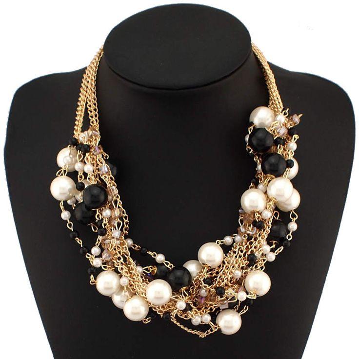 Danfosi Mujeres de La Moda Maxi Collar de Oro de Color Collar de Cadena de perlas de Imitación Perlas de Cristal Gargantillas Gruesos Collares y Colgantes