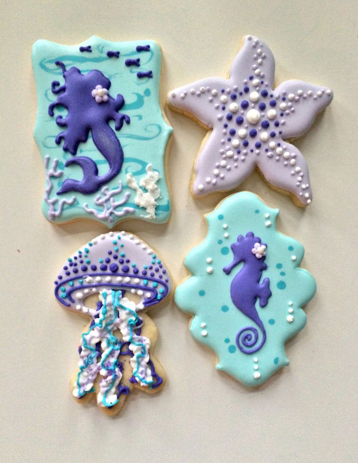 mermaid, starfish, jellyfish, seahorse, under the sea party cookies