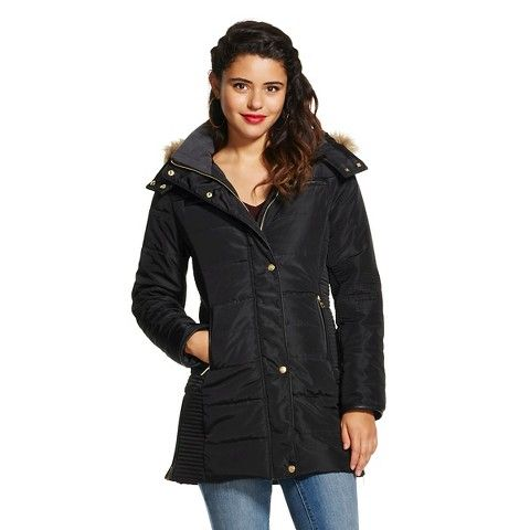 Women's Quilted Long Puffer Jacket - Coffee Shop