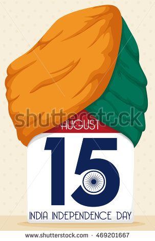 Loose-leaf calendar with reminder date of India Independence Day and a turban in…