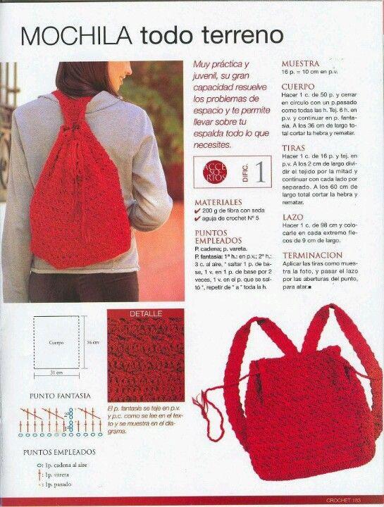 Mochila | croche | vermelha | revista | passo a passo