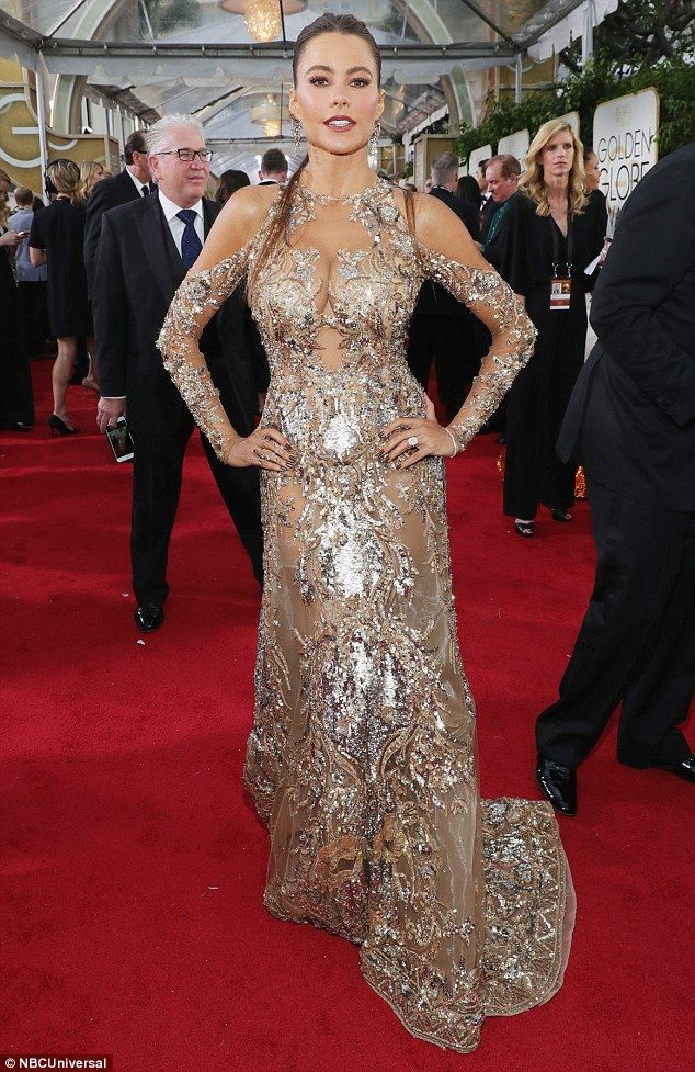 74th Golden Globes 2017 Going for gold: Sofia Vergara dazzled in a sexy semi-sheer gown embellished with shimmering golden...