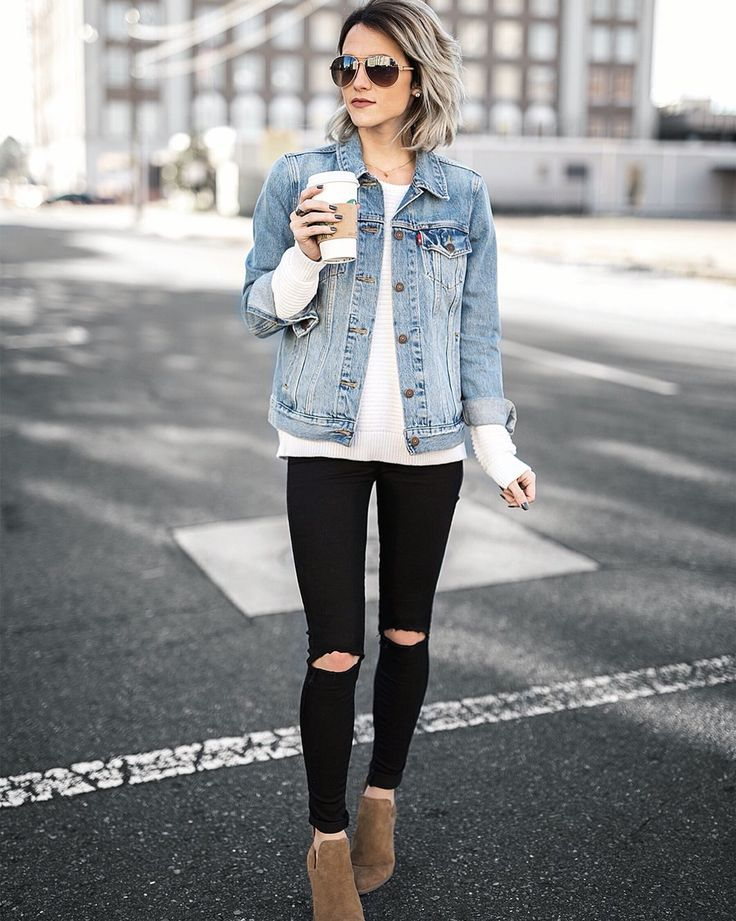 denim jean jacket outfit idea and black jeans