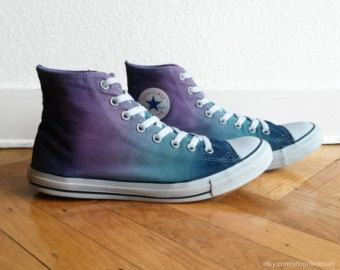 New pair Tropical green ombre Converse high tops All by Femchan