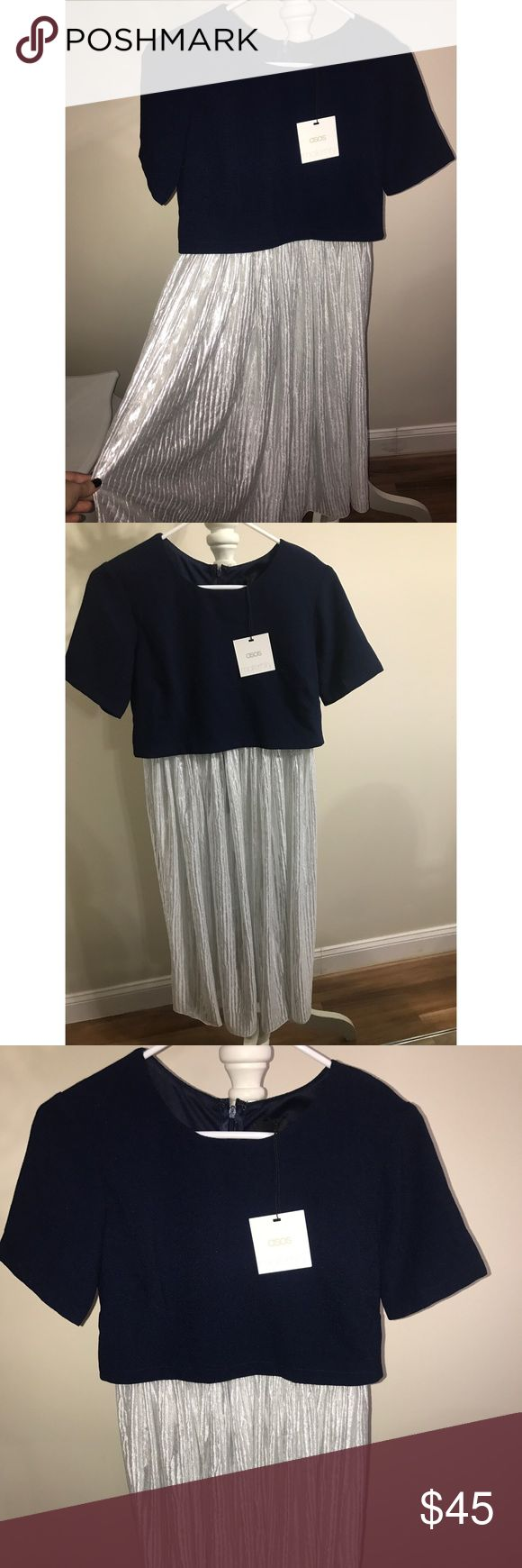 ASOS BRAND MATERNITY DRESS ASOS BRAND MATERNITY DRESS BEAUTIFUL NAVY BLUE ON TOP AND A SILKY SHINY SILVER ON THE BOTTOM. NEVER WORN TAG STILL ON ASOS Maternity Dresses Midi