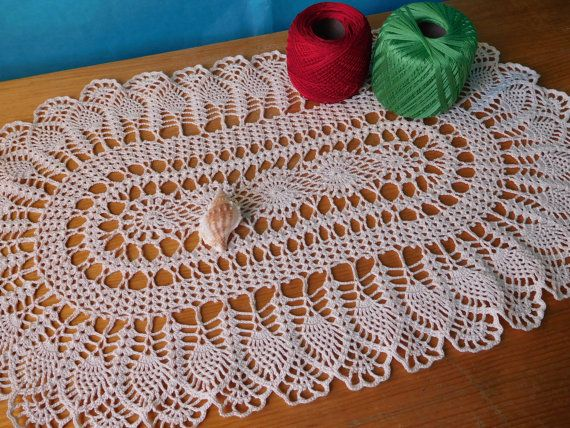 Oval light beige crochet tablecloth 58cm x by ThreadloveByEdith