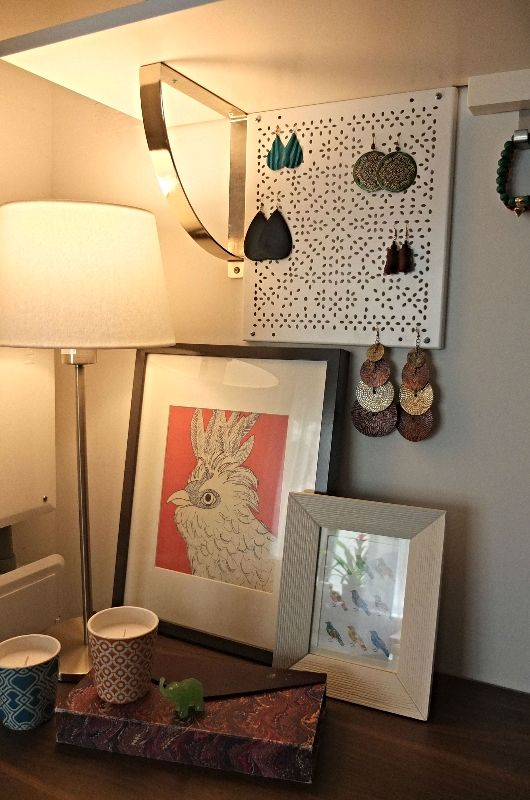 To showcase your earrings, install the IKEA VARIERA shelf insert directly to the wall to create a DIY earring holder!