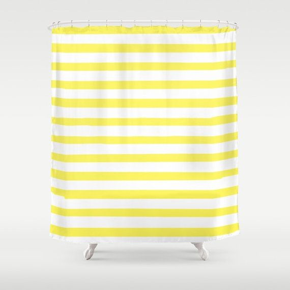 Striped Shower Curtain Yellow Shower Curtain Fabric Shower