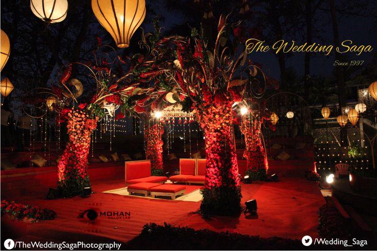 Scarlet themed modern wedding decor with roses and artificial blossoms. #TheWeddingSaga #MohanColorLab #WeddingDecor