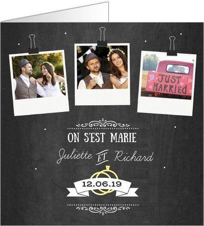 Carte de remerciements mariage polaroids ardoise. Disponible en 4 formats et 2 coloris différents à personnaliser sur Popcarte.com
