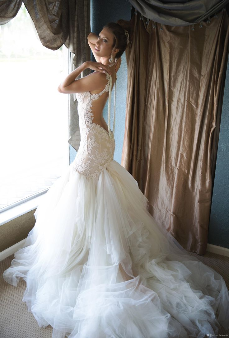 Buy wholesale  galia lahav lace mermaid backless wedding dresses 2015 spaghetti pearls appliques ruffles tulle court train bridal gowns 2016 new arrival which is at a discount now. bestdeals has guaranteed its quality. short white wedding dresses, wedding designers and wedding dress outlet are all in the list of superb dresses.
