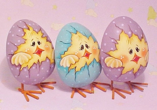 Three Hand Painted Easter Chicks in Eggs by ToletallyPainted