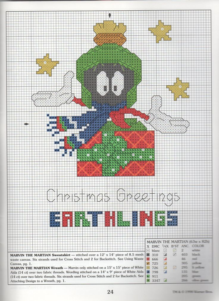 Christmas Greetings Earthling - Marvin the Martian - cross stitch
