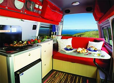 Inside VW campervan, small, compact and fun.