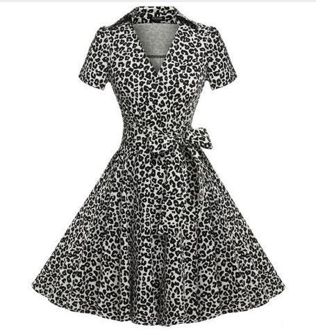 Leopard, Collared, V-Neck, Short-Sleeve, Bow Belt, Wrap Dress - Addy's Dress Vintage Inspired Canada