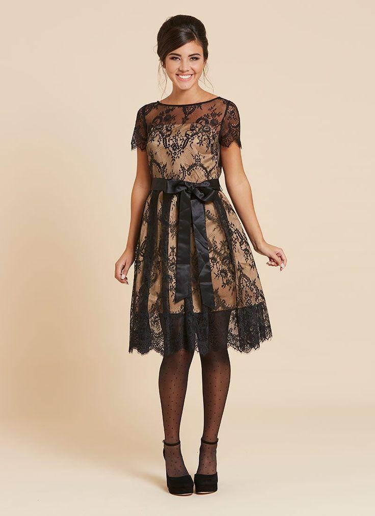 Mylen Satin Tie Lace Overlay Dress